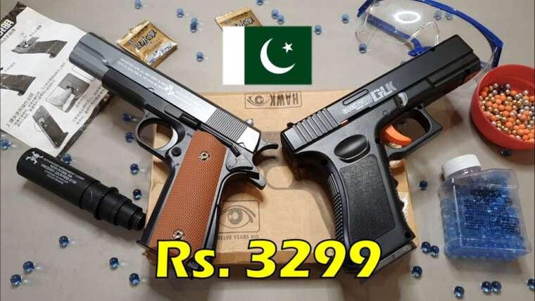 GLOCK 18 vs pistolet Airsoft COLT 1911 au Pakistan |  Unboxing et examen en ourdou / hindi |  Gel Blaster