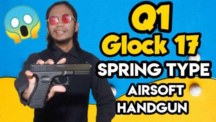 Arme de poing Airsoft à ressort Q1 Glock 17 (REVUE par UNBOXING SIMULATOR TV)