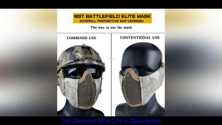 Donner votre avis sur le masque en maille Airsoft demi-visage avec protection auditive militaire tactique inférieure de protection du visage Brea