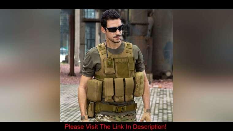 Évaluer Gilet tactique Airsoft Hommes Gilets de chasse militaires Gilet d'équipement Molle Combat Assault P